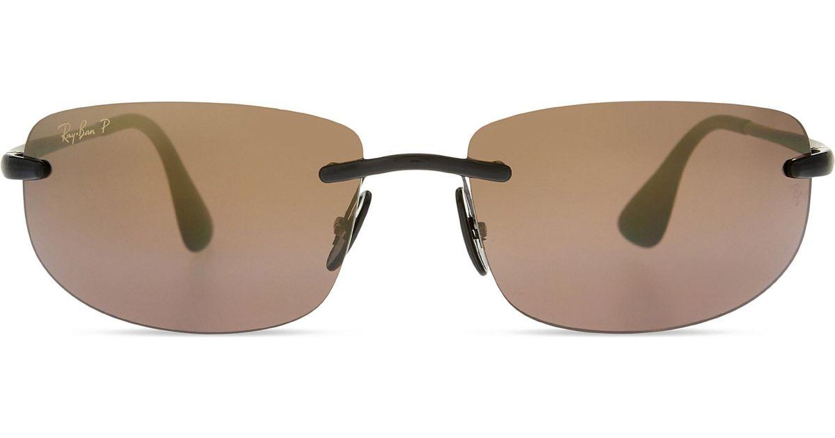 1b8f9d0857 Ray-Ban Rb4254 Chromance Rectangle-frame Sunglasses in Black - Lyst