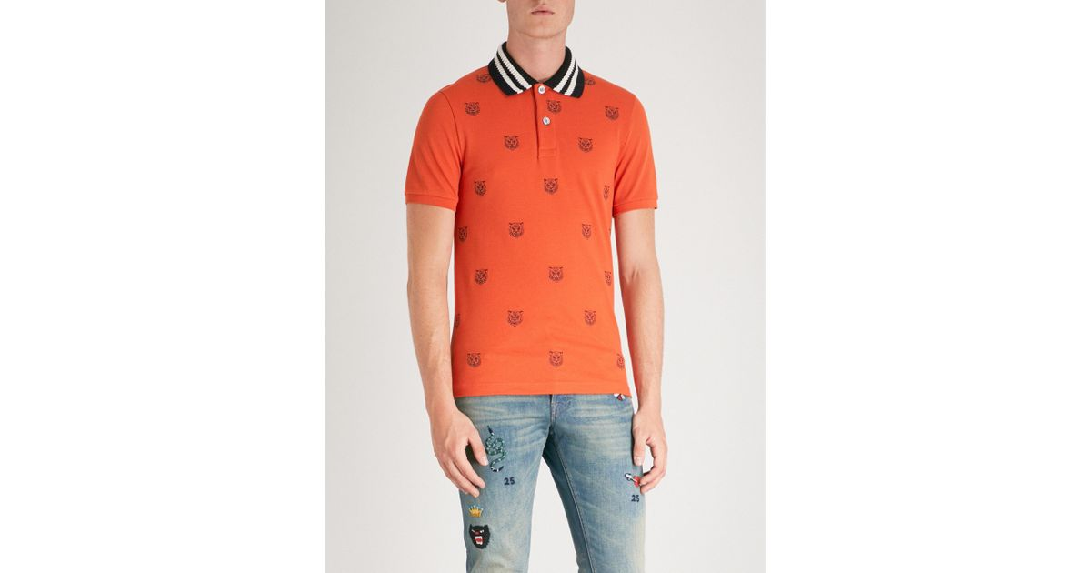 26530a236 Gucci Tiger-embroidered Slim-fit Cotton-pique Polo Shirt in Orange for Men  - Lyst