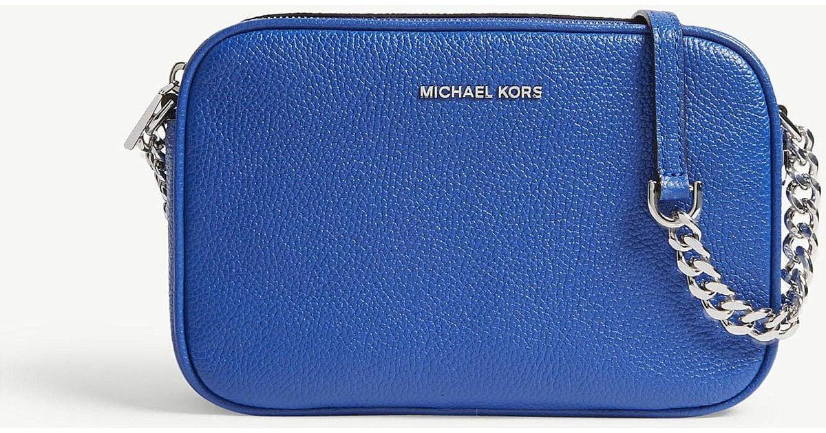 ba82dd867198 Lyst - MICHAEL Michael Kors Ginny Medium Grained Leather Cross-body Bag in  Blue