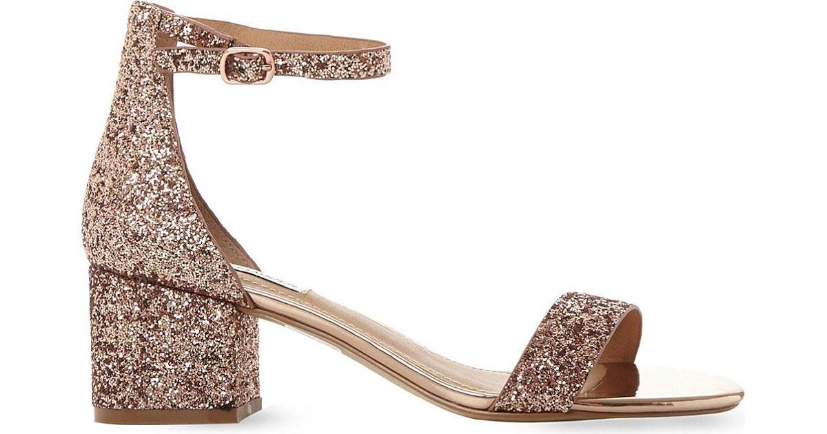 5b6e755cd2de Steve Madden Irenee Rose Gold Glitter Block Heel Sandals in Metallic - Lyst