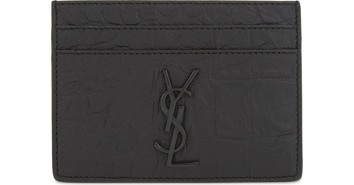 b87705bc550 Saint Laurent Monogram Crocodile-embossed Leather Card Holder in Black for  Men - Lyst