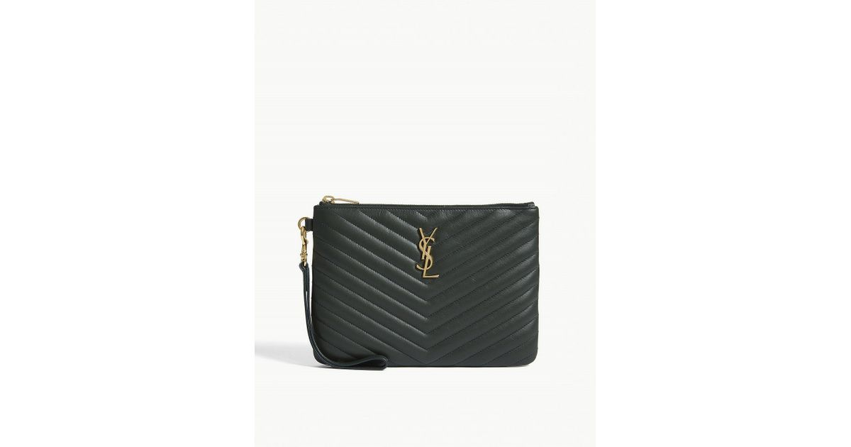 Lyst - Saint Laurent Monogram Quilted Pouch in Green 161e4ab4ceab3
