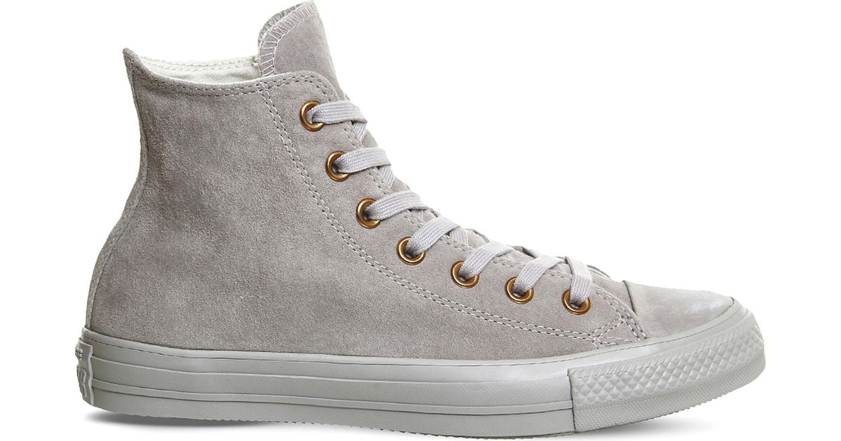 Converse Mens All Star Hi Ash Grey   Rose Gold Suede High Top Trainers in  Gray for Men - Lyst e68cd88ef357