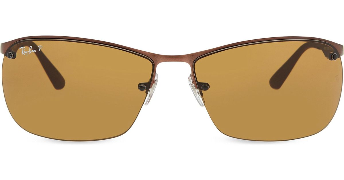 2ec6ff03954 Ray-Ban - Brown Rb3550 Rectangle Polarized Sunglasses for Men - Lyst