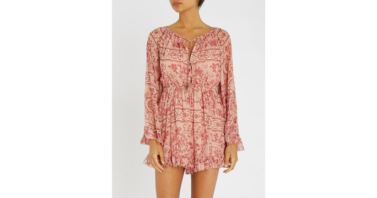 5d1ea71d2bd Lyst - Zimmermann Castile Flared Sleeve Playsuit in Pink