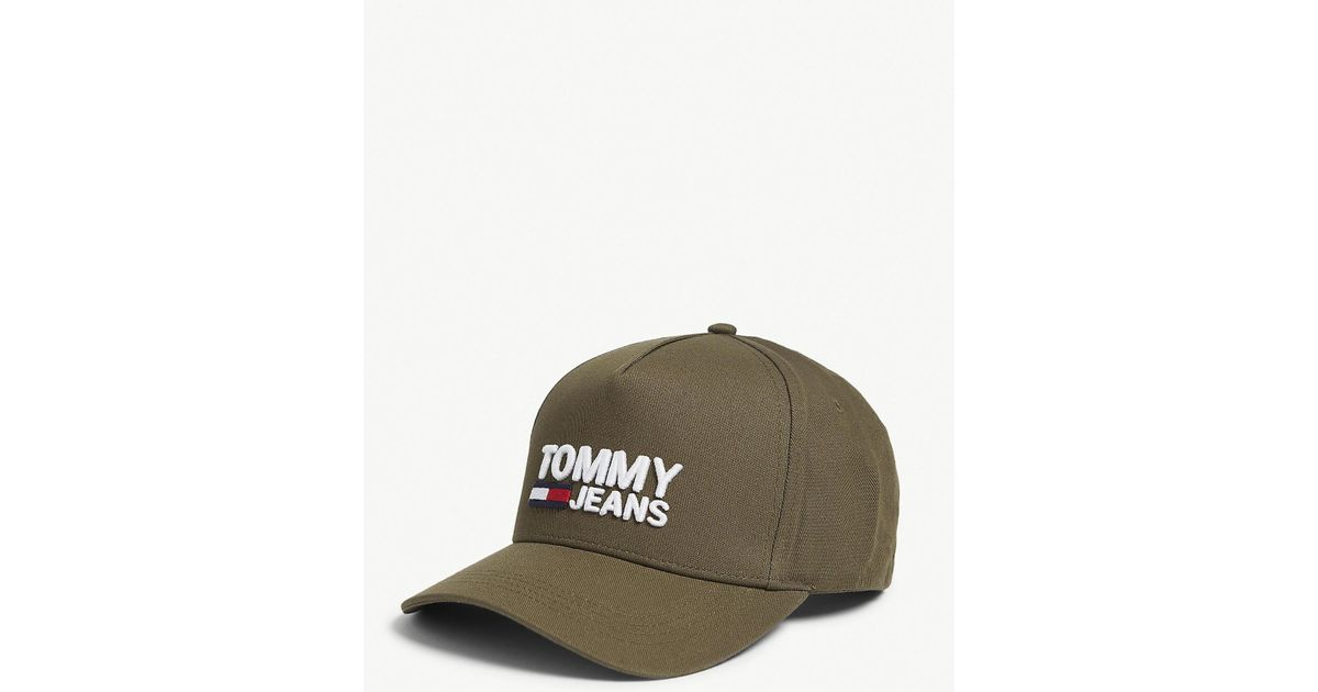 9f442435c377a1 Tommy Hilfiger Logo-printed Cotton Baseball Cap in Green for Men - Lyst