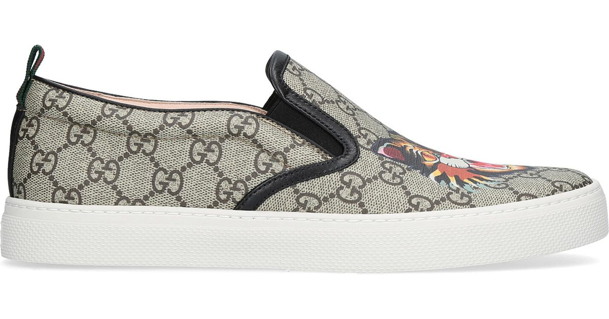 8a47ccbe51f0 Lyst - Gucci Dublin Tiger-print Gg Canvas Skate Shoes in Brown for Men