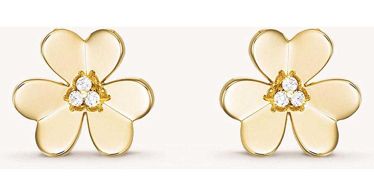 374c4ac86c6 Van Cleef   Arpels Frivole Gold And Diamond Small Earrings in Metallic -  Save 20% - Lyst