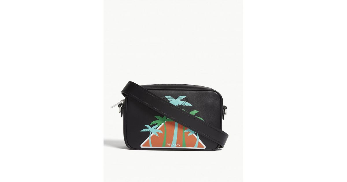 74f01b93a3054a Prada Black Palm Tree Logo Shoulder Bag in Black - Lyst