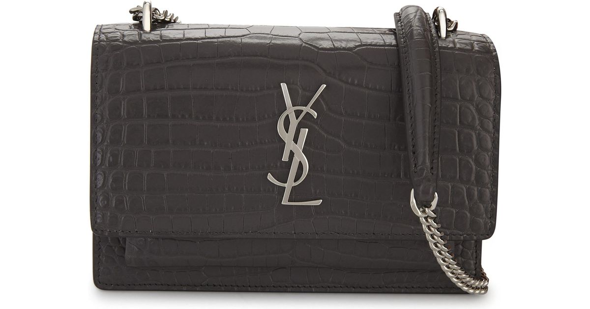 Lyst - Saint Laurent Sunset Croc-embossed Leather Cross-body Bag in Gray 8e318222152a9
