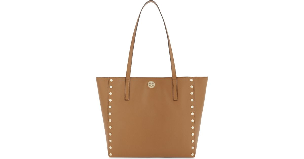 ac11341a3e90 Lyst - MICHAEL Michael Kors Rivington Studded Large Leather Tote in Brown