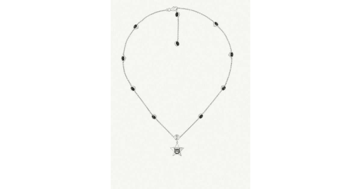 0fb377928 Gucci Blind For Love Cat-engraved Sterling Silver And Black Spinels Necklace  in Metallic - Lyst