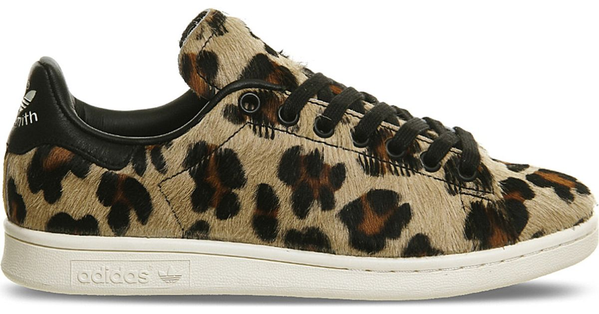 lyst - adidas originals stan smith leopard-print pony-hair trainers