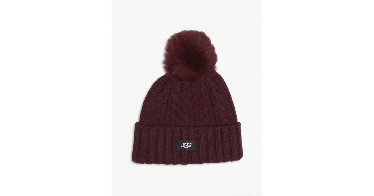 102eda459b0 Ugg Cable Knit Pompom Beanie in Purple - Lyst