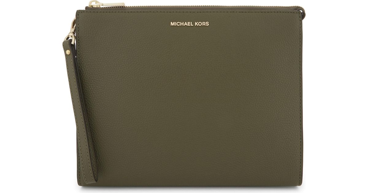 34cf0fa77f78 MICHAEL Michael Kors Michael Kors Ladies Olive Practical Mercer Leather  Pouch in Green - Lyst