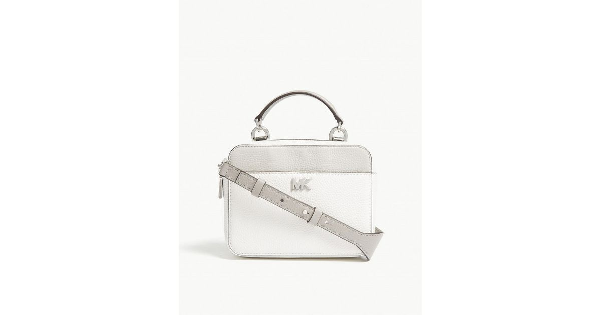 a08172c00700 ... coupon code for michael michael kors mott colour block leather cross  body bag in white lyst ...