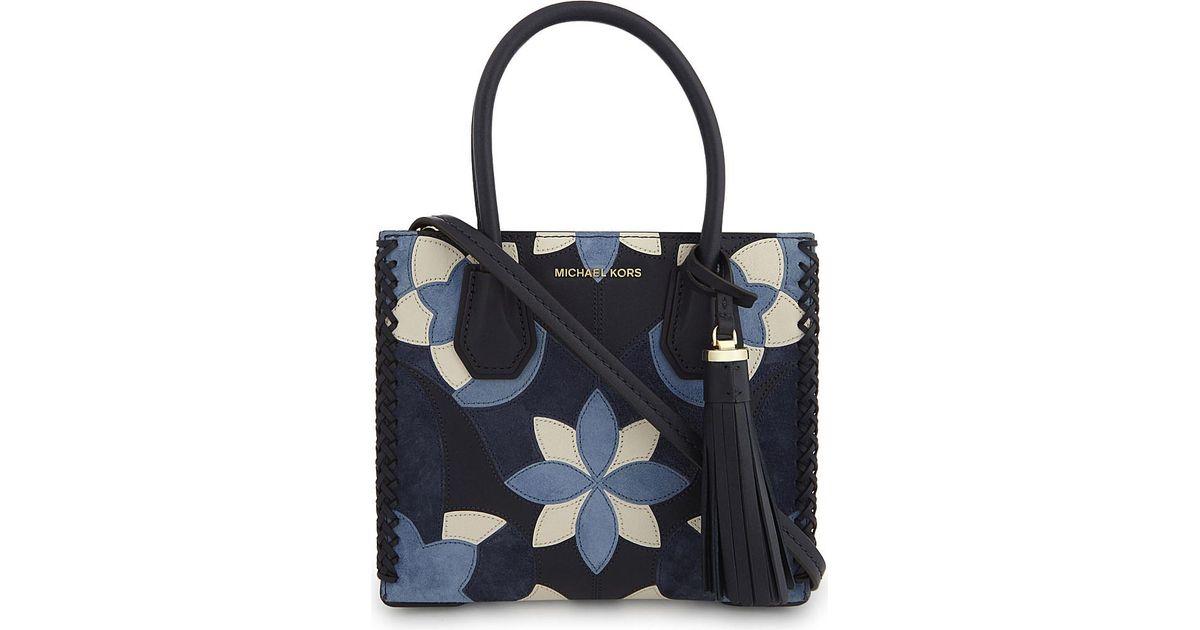 19599f6b2a24 Lyst - MICHAEL Michael Kors Michael Kors Ladies Admiral Patchwork Classic Mercer  Floral Medium Leather Shoulder Bag in Blue
