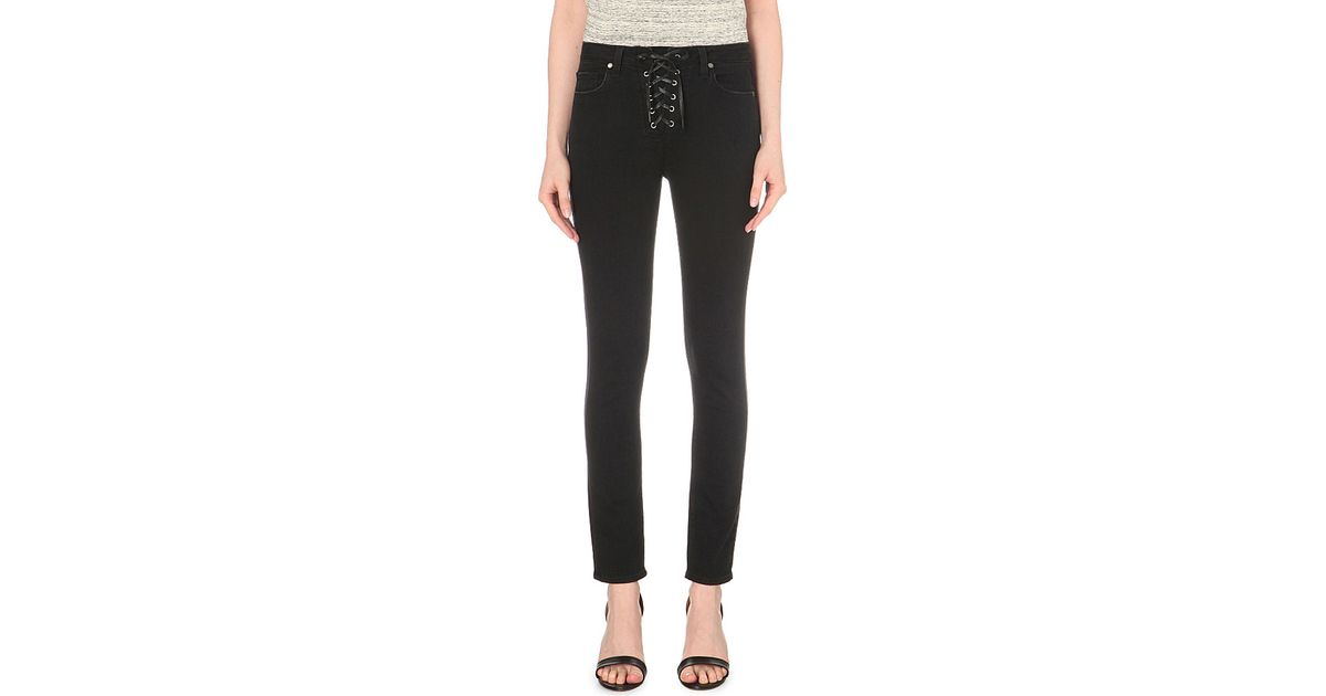 4a0aa097c PAIGE Hoxton Lace-up Skinny High-rise Jeans in Gray - Lyst