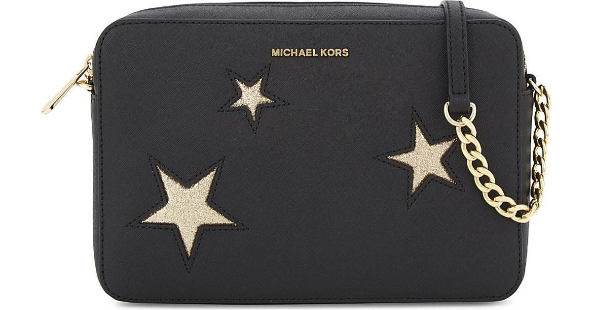 Lyst Michael Kors Glitter Star Large Saffiano Leather Cross Body In Black