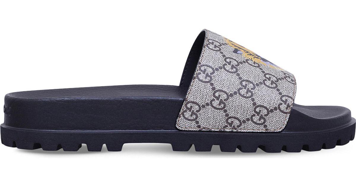bc33d90eec11 Gucci Pursuit Tiger-print Canvas Slide Sandal in Brown for Men - Lyst