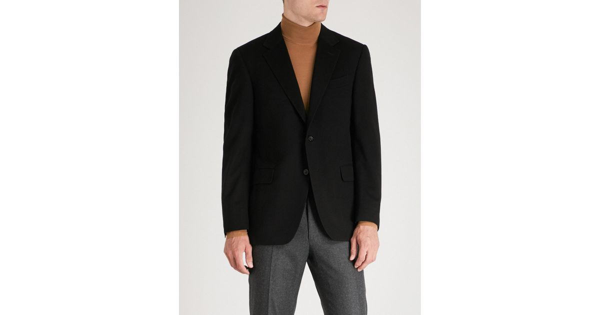 1a6c21e9a85 Canali Tailored-fit Wool And Cashmere-blend Jacket in Black for Men - Lyst