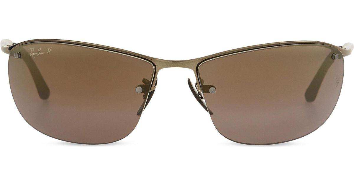 4ba91735e4a Ray-Ban Rb3542 Chromance Rectangle-frame Sunglasses in Brown for Men - Lyst