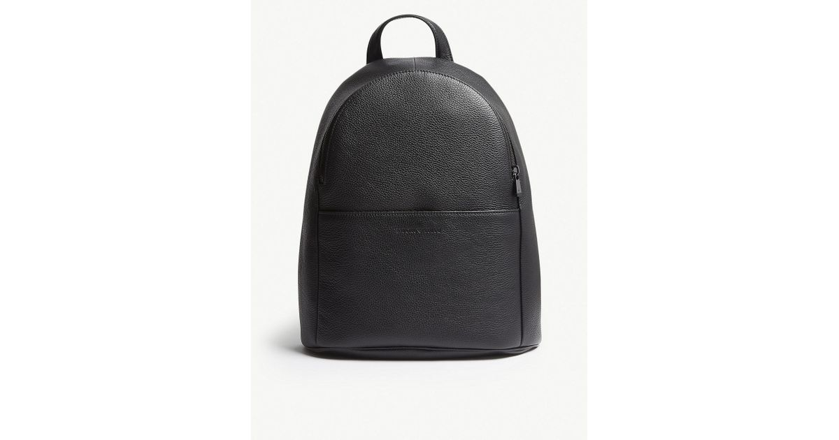 Lyst - Emporio Armani Black Grained Leather Backpack in Black for Men 41ddff24a146a