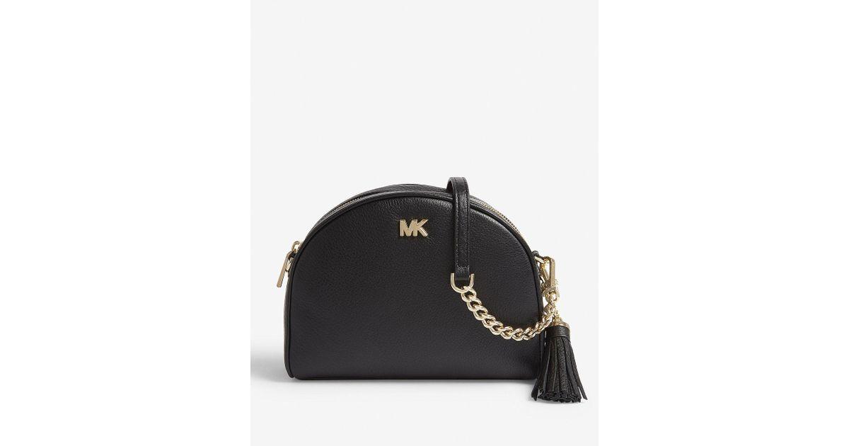 c9b9a4b713f8 MICHAEL Michael Kors Half-moon Pebbled Leather Shoulder Bag in Black - Lyst