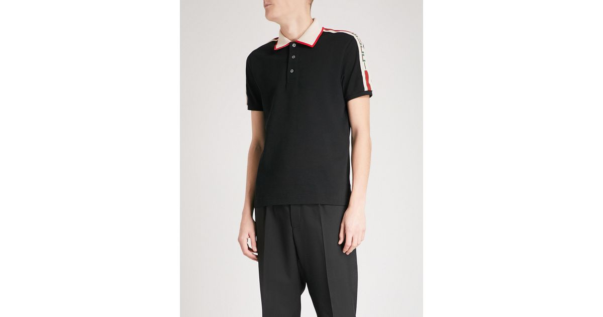 e96591fe7 Gucci Logo-trim Slim-fit Stretch-cotton Polo Shirt in Black for Men - Lyst
