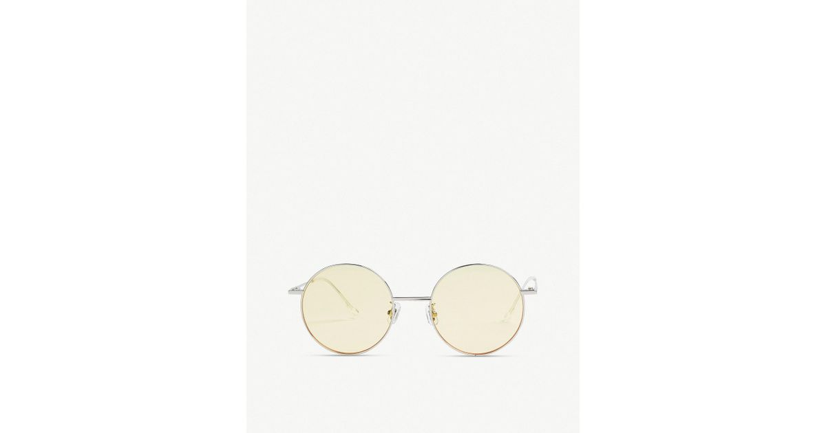 587a4b7538f Lyst - Gentle Monster Midnight Sun Tinted Round-frame Sunglasses in Yellow