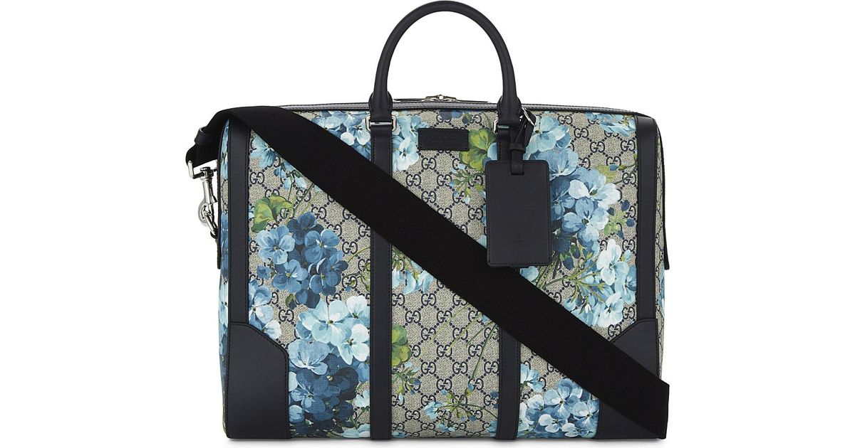 683faa10f Gucci Gg Canvas Blooms Medium Briefcase in Blue for Men - Lyst
