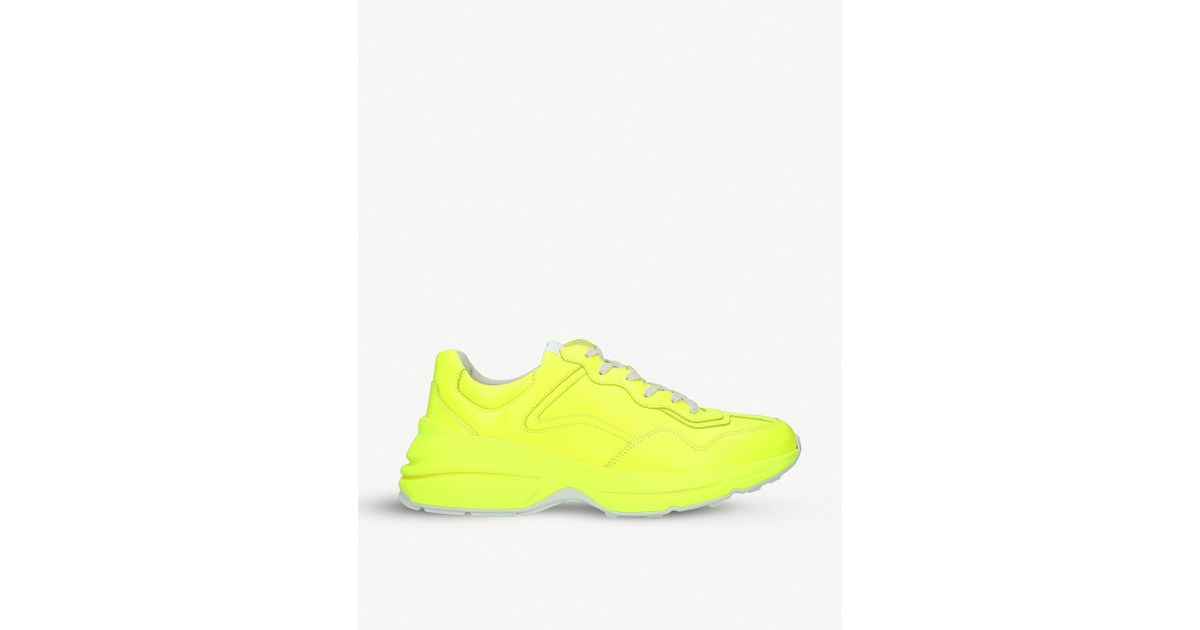 aa9873f46 Gucci Rhyton Colour-blocked Leather Trainers in Yellow for Men - Lyst