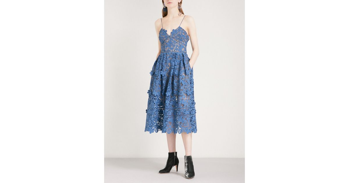 8023b0d794ec Self-Portrait 3d Floral Azaelea Guipure-lace Midi Dress in Blue - Lyst