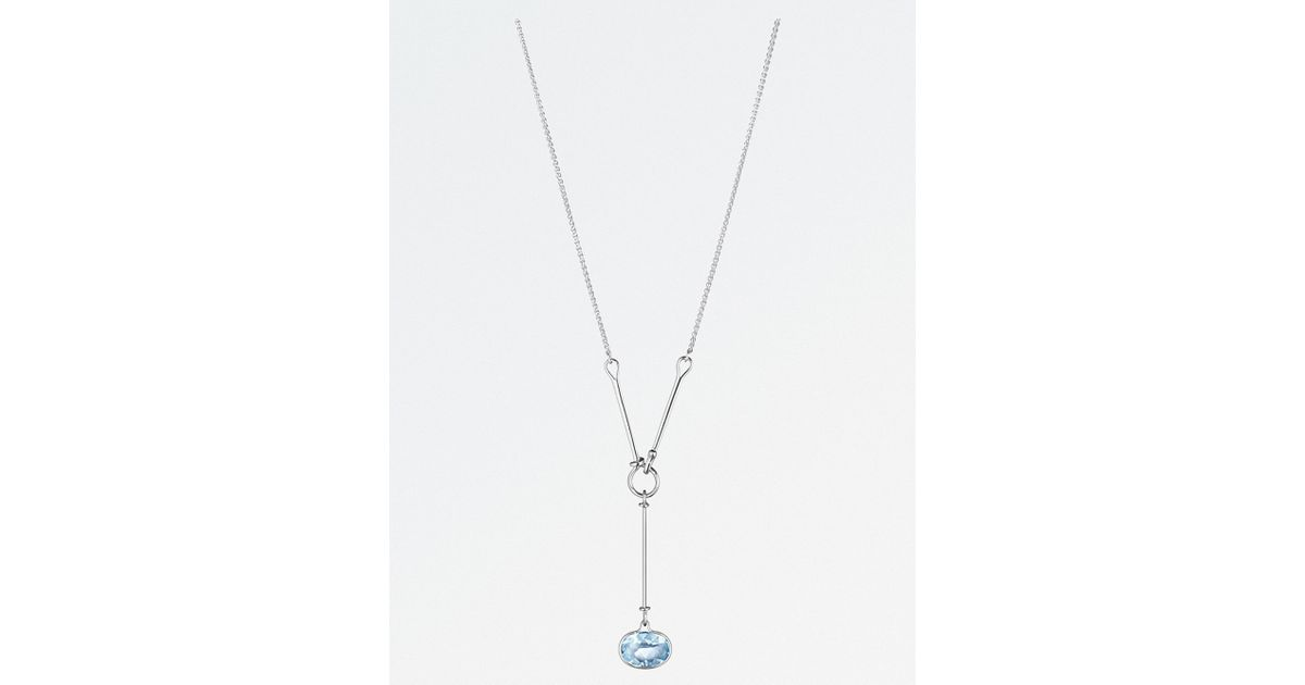 001a86e17 Lyst - Georg Jensen Savannah Sterling Silver And Blue Topaz Necklace in  Metallic