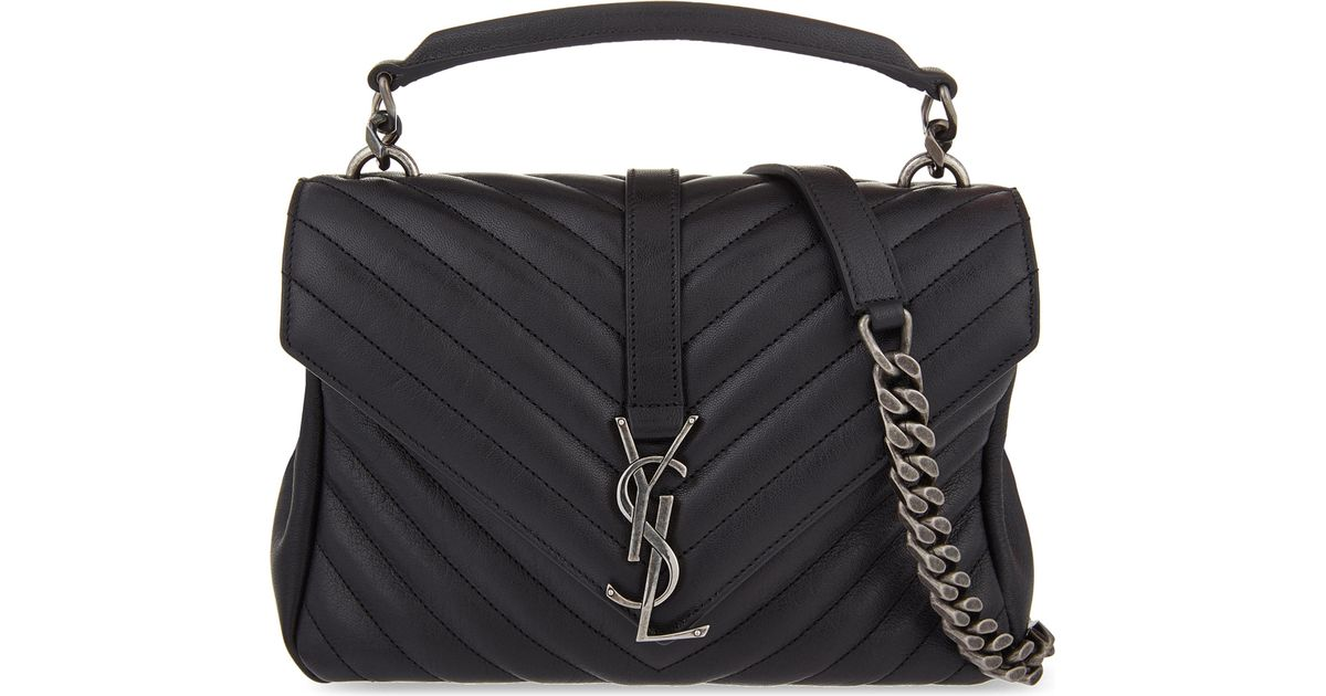 6c4488f01bf8 Lyst - Saint Laurent Monogram College Small Quilted Leather Shoulder Bag in  Black