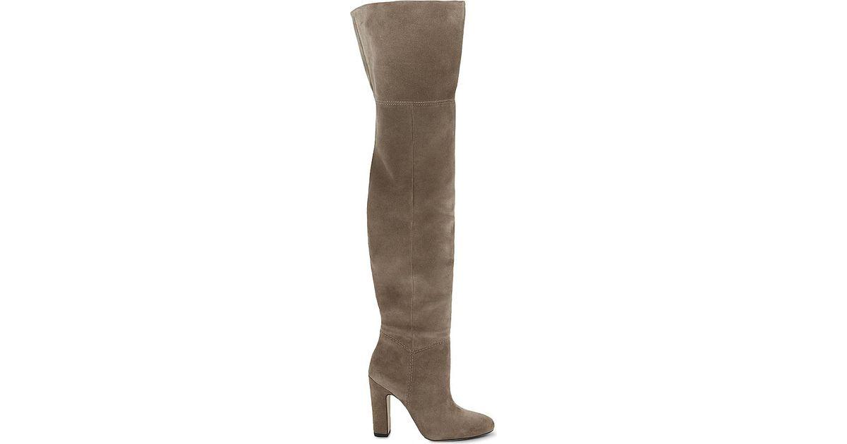 aldo nakina suede the knee boots in brown lyst