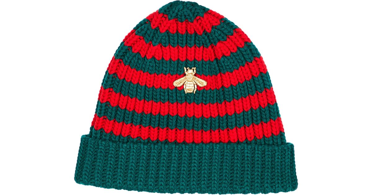 Lyst - Gucci Bee-embroidered Knit Beanie in Red fb54650eba1