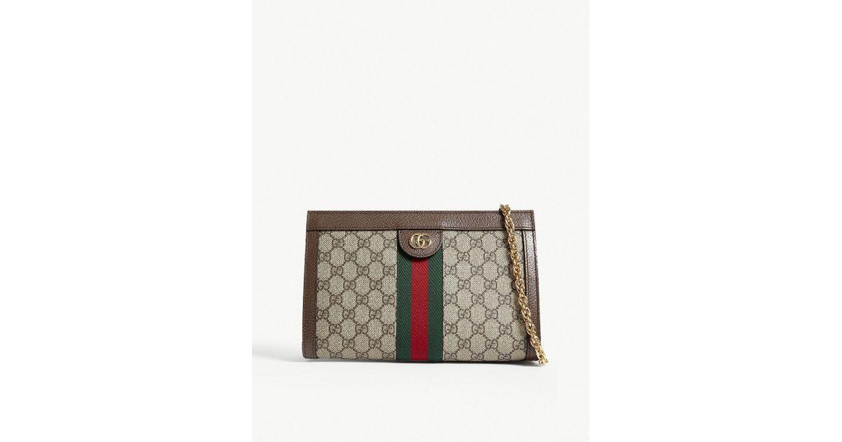 55208ef6fad Lyst - Gucci Web Stripe Small Gg Supreme Shoulder Bag in Brown
