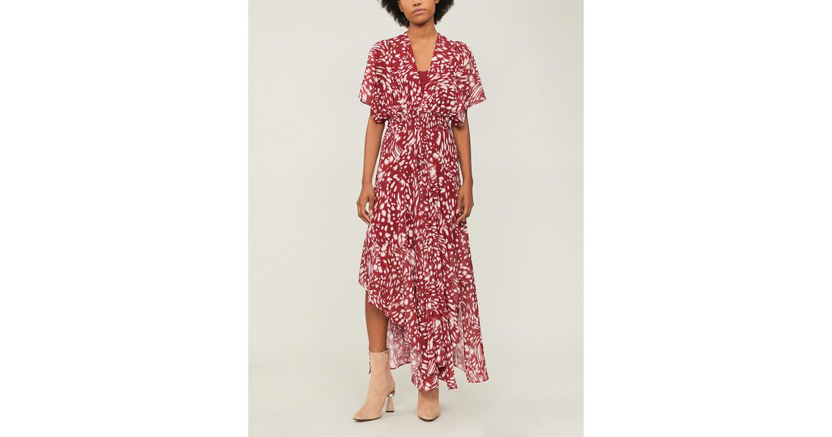 cead11f936d8 Maje Richelle Printed Crepe Dress in Red - Lyst