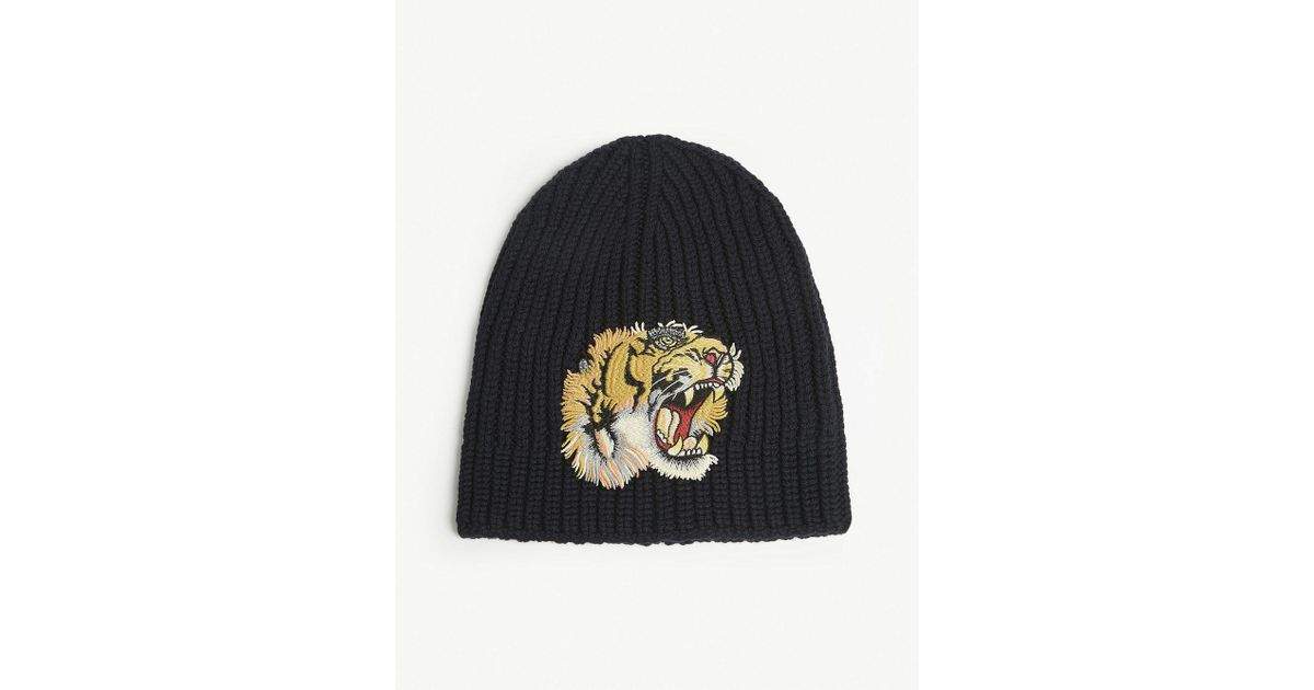 676ee771804 Gucci Tiger Patch Knitted Wool Beanie in Blue for Men - Save 35% - Lyst