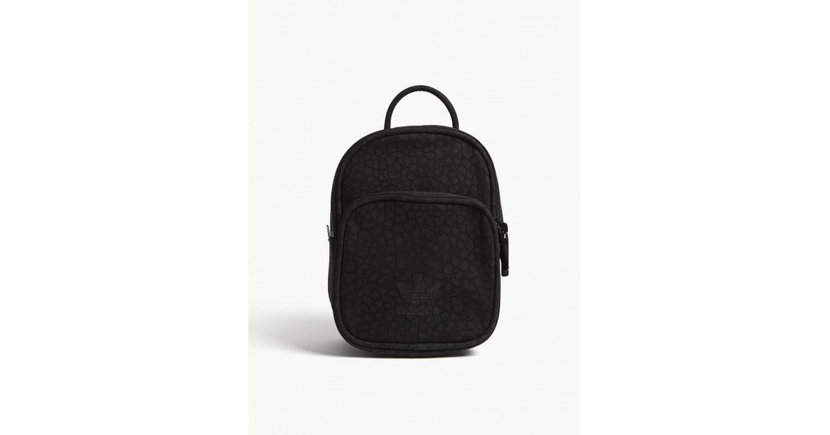 a32b5c9ec8 adidas Originals Embossed Faux-suede Mini Backpack in Black - Lyst