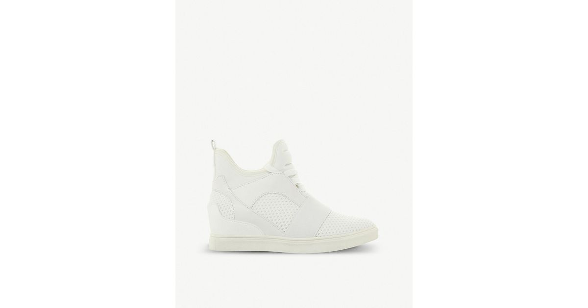 e0860078024 Lyst - Steve Madden Lexi Flyknit High-top Wedge Trainers in White