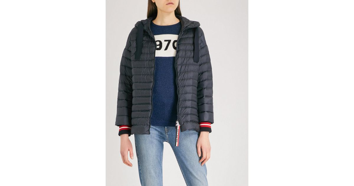 d1d97d339af Moncler Benitoite Hooded Shell-down Jacket in Blue - Lyst