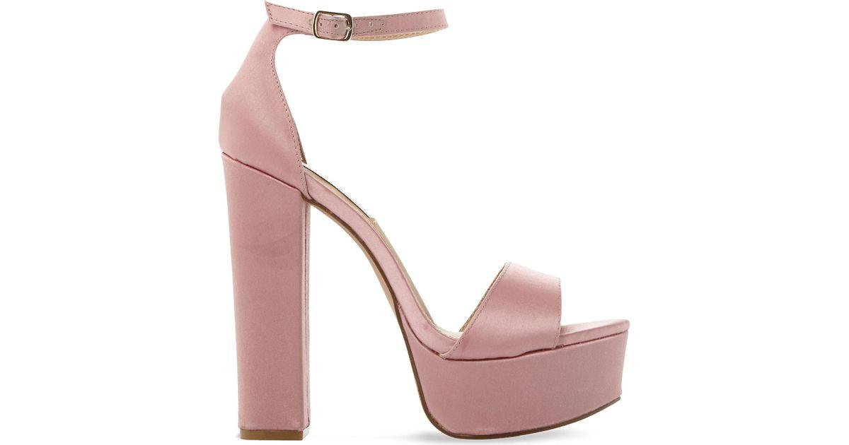 ebc60e847048 Lyst - Steve Madden Gonzo Satin Platform Sandals in Pink