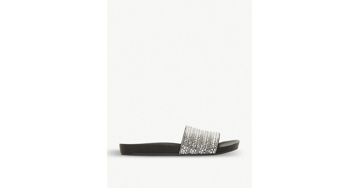 c7ba3cafc4675 Steve Madden Fancy Rhinestone-embellished Flat Sandal in Black - Lyst