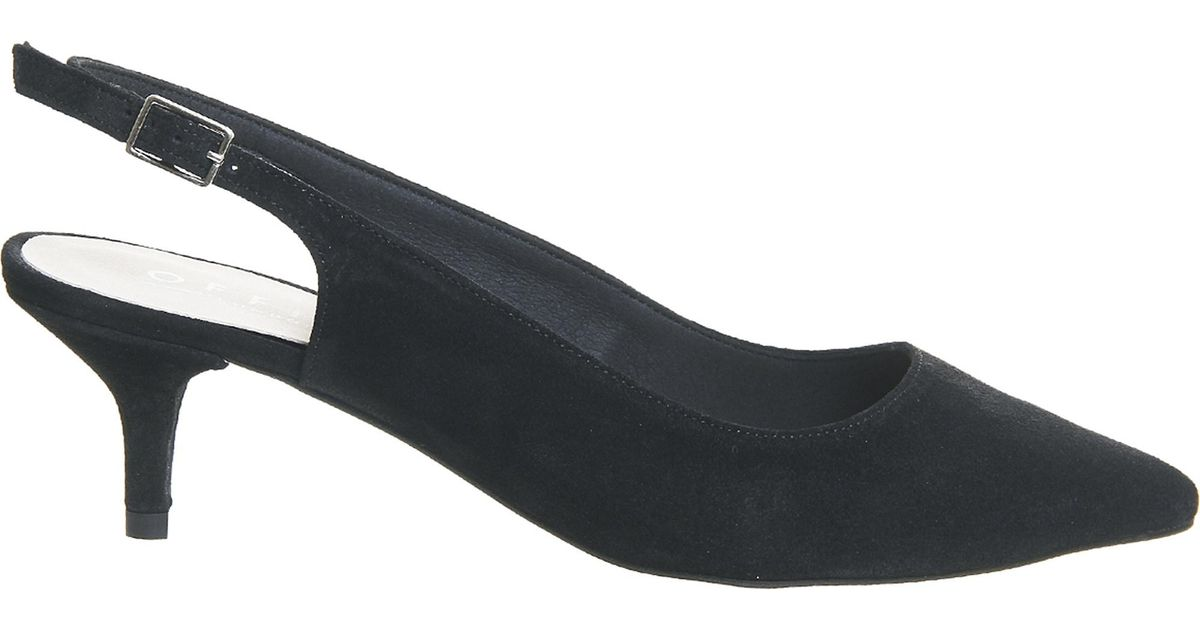 1af302af088 Lyst - Office Mocktail Suede Slingback Kitten Heels in Black