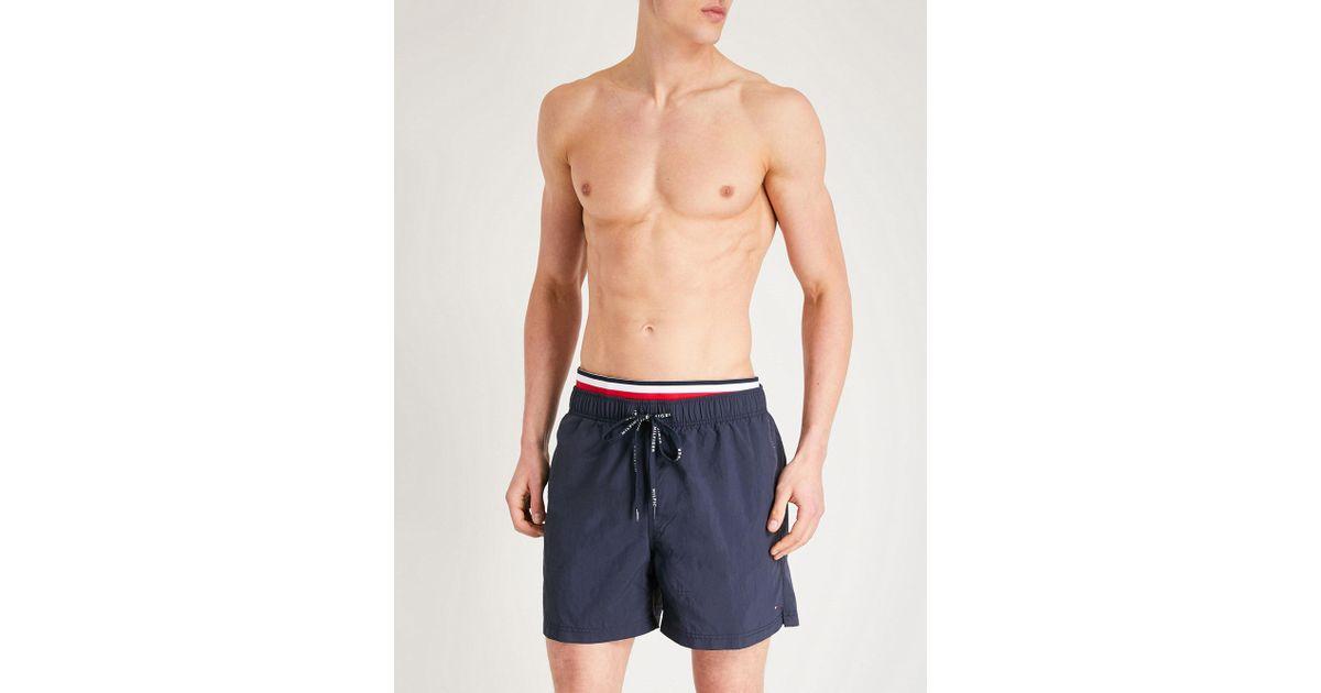 4bfa2b11c30b5 Lyst - Tommy Hilfiger Striped-trim Relaxed-fit Swim Shorts in Blue for Men