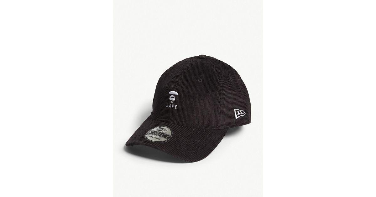 Aape Logo 9twenty Corduroy Snapback Cap in Black for Men - Lyst 9c65f64fc2c