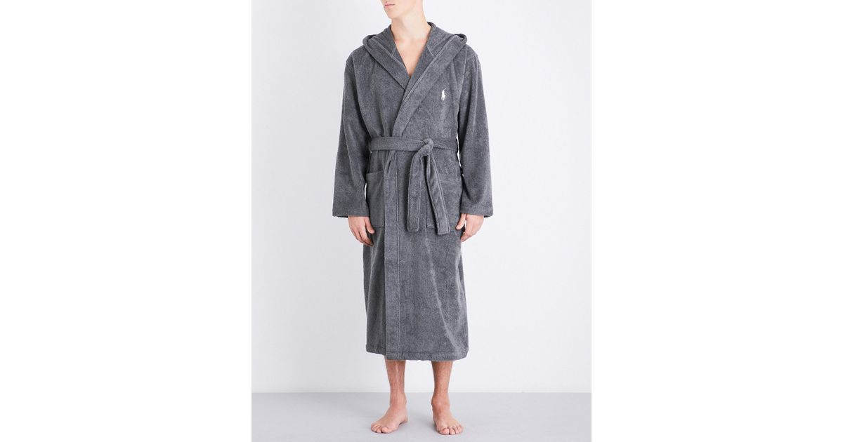 Lyst - Polo Ralph Lauren Logo-embroidered Cotton Dressing Gown in ...