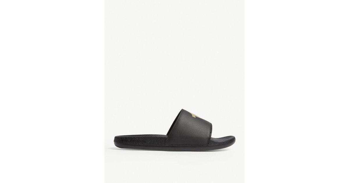 3ffe863fa Lyst - True Religion Logo Faux-leather Sliders in Black for Men